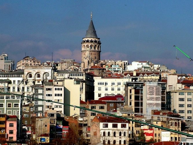 Galata Tower In Holiday